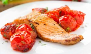 roasted fish & tomatoes
